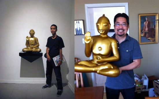 Sitting Gaia by Budi Nugroho in Indonesia (left) and with Mark Nagata in San Francisco (right)