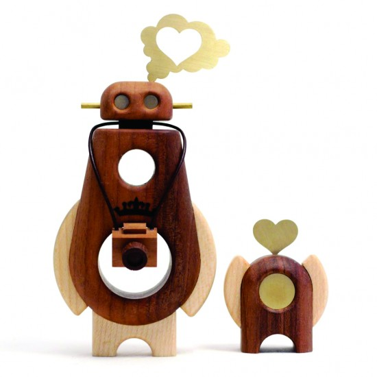 "Arborobots ""Ramble"" & ""Roam"" solid wood figures by Pepe Hiller and Cris Rose."