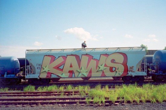 KAWS train tag, NJ 1995