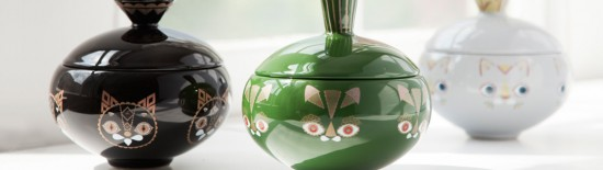 Putte the Cat ceramic jars