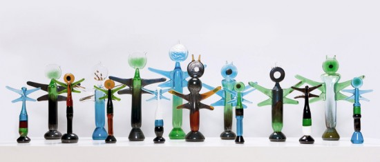 "glass objects based on Finnish character ""Korento"""
