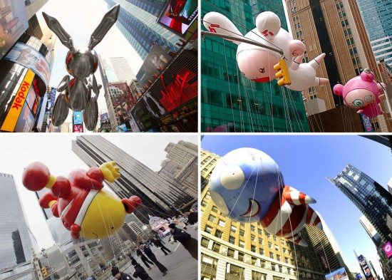 Macy's Thanksgiving Day Parade Balloons by Jeff Koons, Takashi Murakami, Tom Otterness and Tim Burton