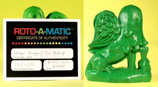 Army Green Roto-a-Matic Helper Dragon by Tim Biskup x Rotofugi