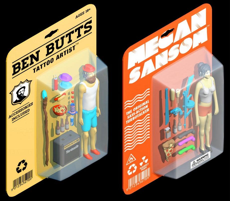 digitally illustrated action figures by Jordan Speer