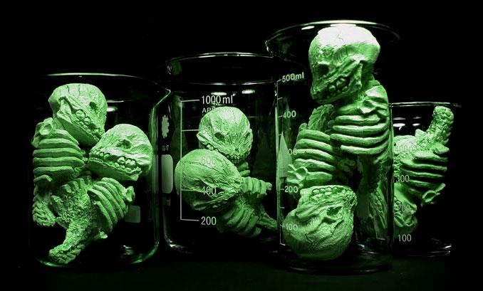 Infected resin toy skeletons by Scott Wilkowski
