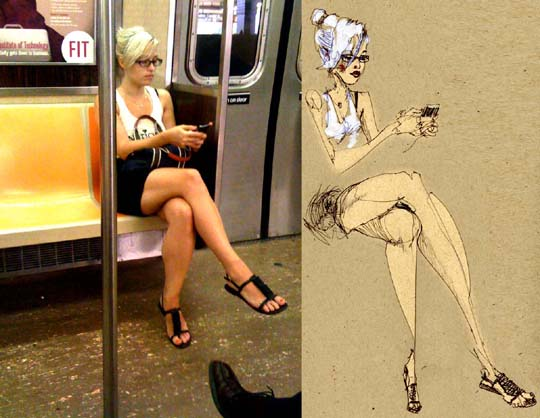 subway sketch by David Choe