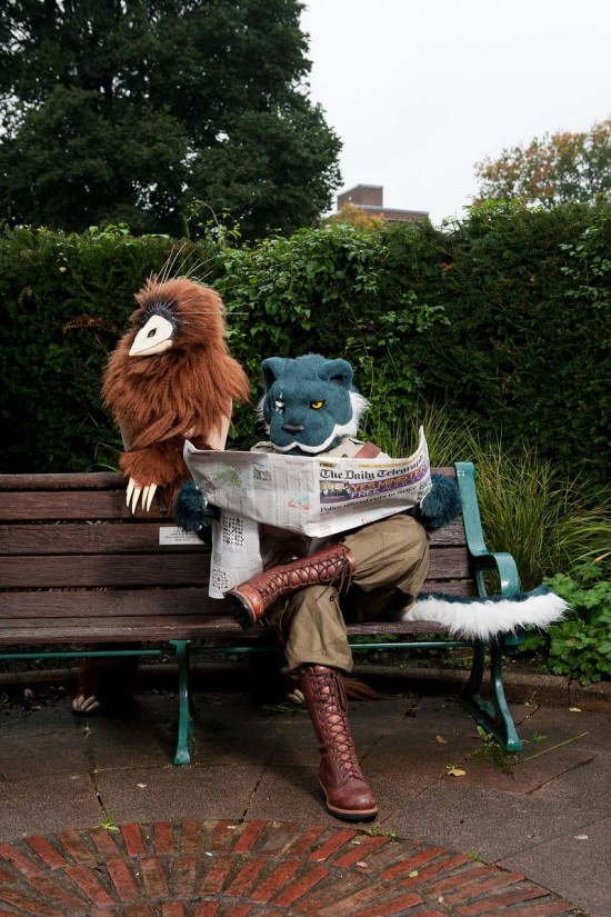 Kreek and Quartermane are a woodland nymph and steampunk lion respectively. They live together in Brighton. Photograph © Tom Broadbent.