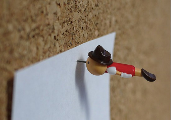 Real Boy Pinocchio Push Pins by Duncan Shotton Design Studio