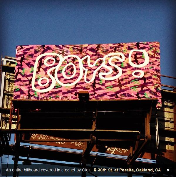 Olek crocheted billboard in Oakland
