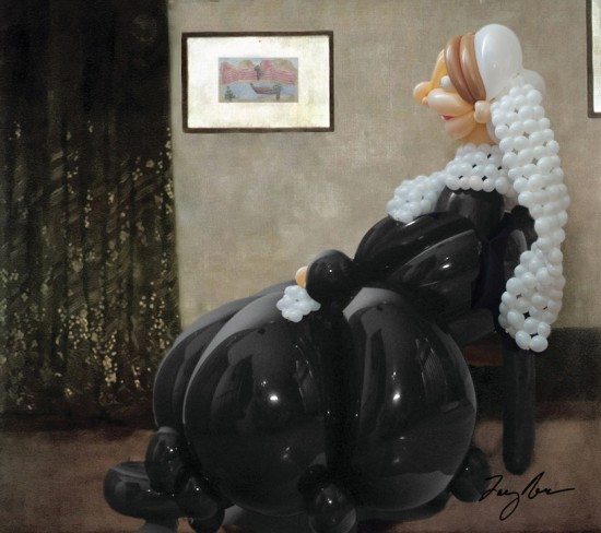 Whistler's Mother in balloons