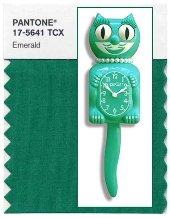 Lady Kit-Cat Clock Pantone Emerald