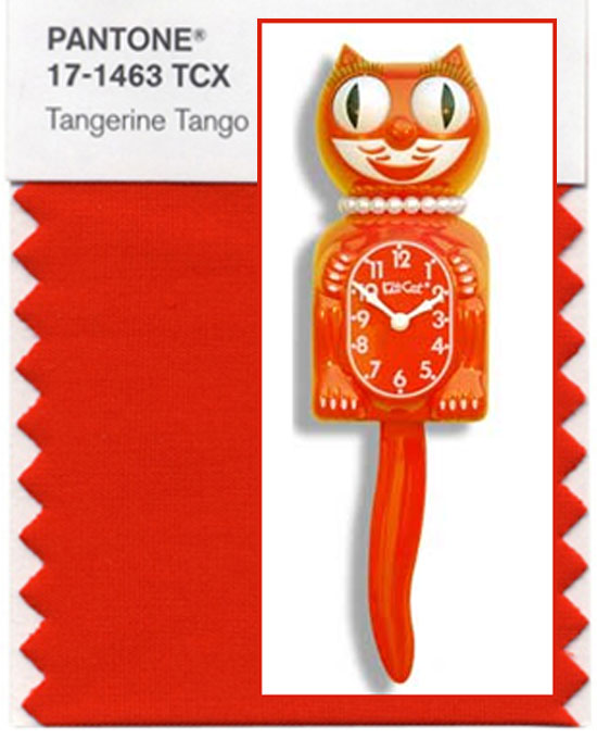 Lady Kit-Cat Clock in Tangerine Tango Pantone Color