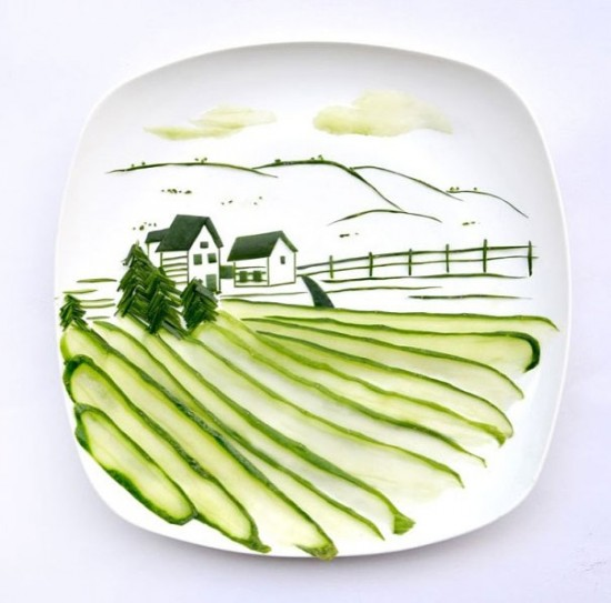"Landscape made from one single cucumber by ""Red"" Hong Yi"
