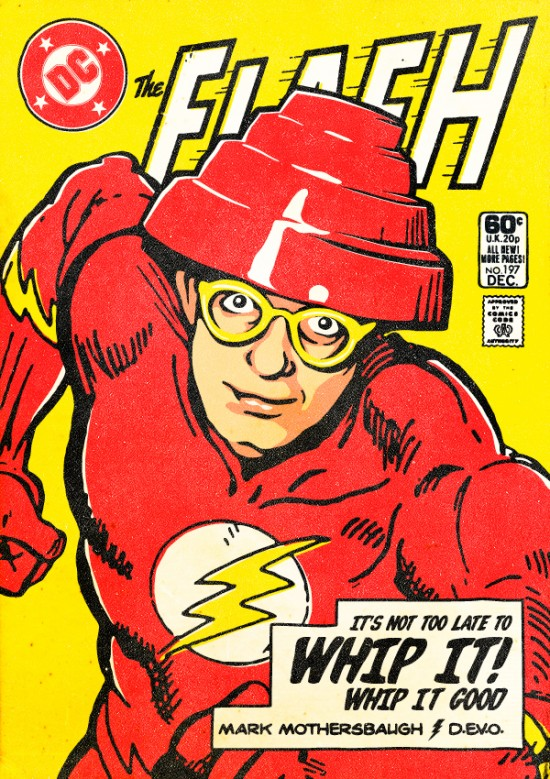 Mark Mothersbaugh of Devo as The Flash. Post-punk Superheroes by Butcher Billy.
