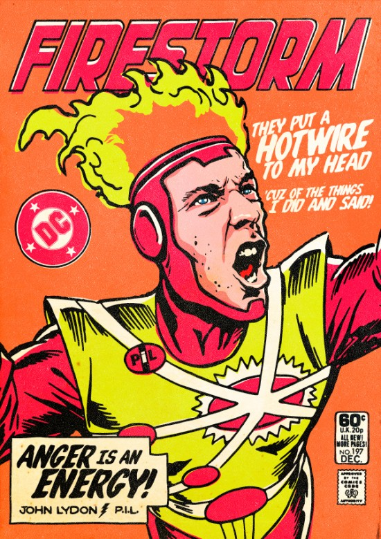 Johnny Lydon of PiL as Firestorm. Post-punk Superheroes by Butcher Billy.