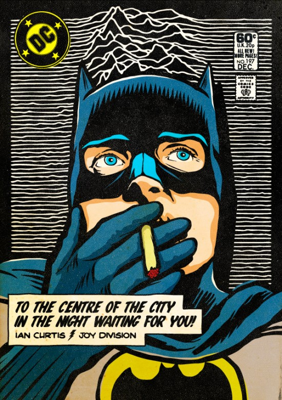 Ian Curtis of Joy Division as Batman. Post-punk Superheroes by Butcher Billy.