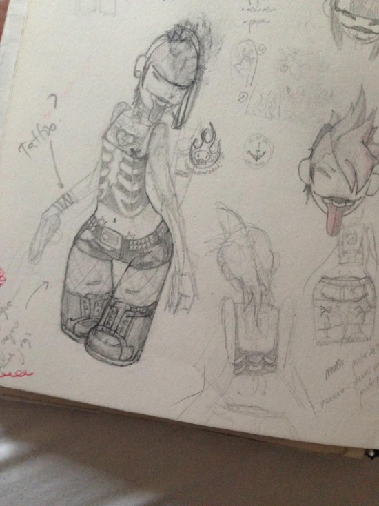 Tattoo girl toy sketch by Marcos Lorenzo