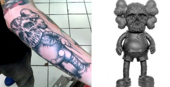 Tattoos inspired by art: KAWS Companion by Pushead.