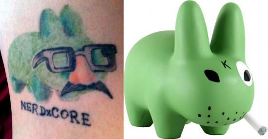 Tattoos inspired by art: Labbit by Frank Kozik. Tattoo by Michael Vasquez. Flesh canvas by Melanie.