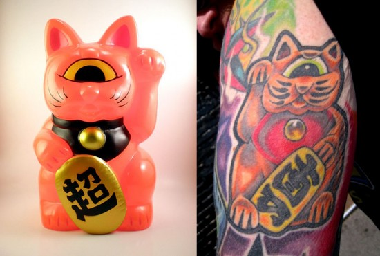 Tattoos inspired by art: Fortune Cat by RealxHead. Flesh canvas by Kirkland.