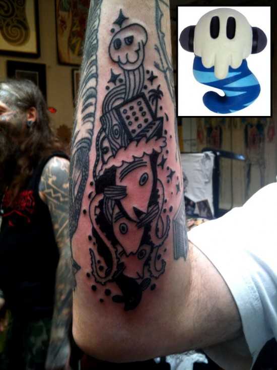 Tattoos inspired by art: Monsterism by Pete Fowler. Flesh canvas by Mikey.