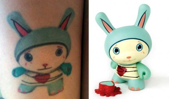 Tattoos inspired by art: Dunny by Tara McPherson. Flesh canvas by Melanie.