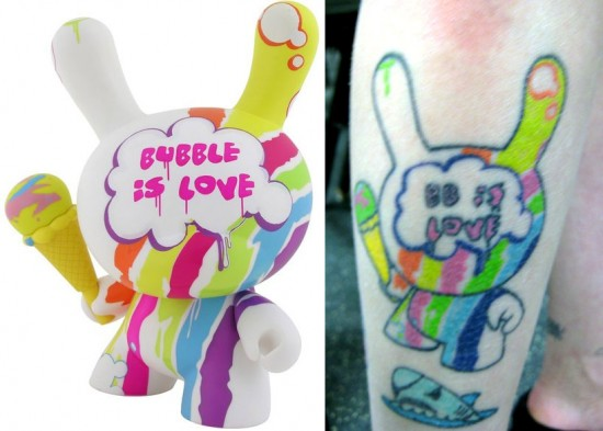 Tattoos inspired by art: Bubble Dunny by Tilt.