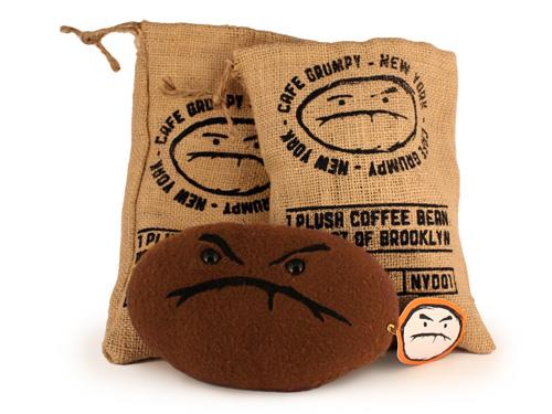 Plush Cafe Grumpy beans by Lana Crooks & Andrew Bell