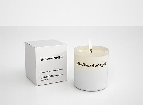 New York Times candle by Tobias Wong