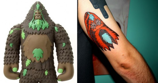 Tattoos inspired by art: Bigfoot by Bigfoot. Flesh canvas by Thinkitem.