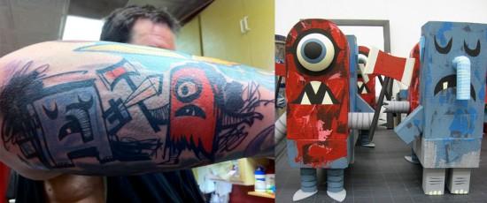 Tattoos inspired by art: Helpercentaurephunt by Tim Biskup & Amanda Visell. Tattoo by Hannah Aitchison (Chicago). Flesh canvas by Ron.