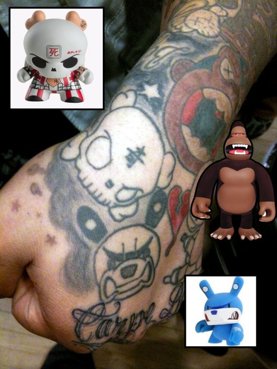 Tattoos inspired by art: Skullhead by Huck Gee. King Ken by James Jarvis. Knucklebear by Touma.