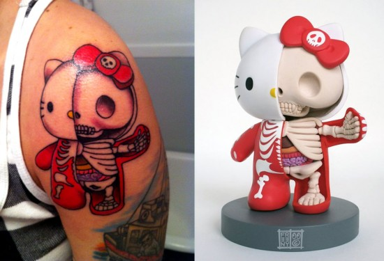 Tattoos inspired by art: Dissected Hello Kitty by Jason Freeny. Tattoo by Josh Fallon @ Big Top Tattoo (Utica, MI). Flesh canvas by Jessica.