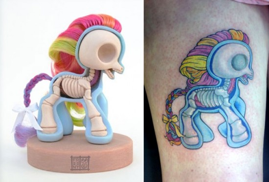 Tattoos inspired by art: Dissected My Little Pony by Jason Freeny.