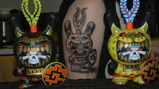 Tattoos inspired by art: Jaguar Warrior Dunny by Jesse Hernandez. Flesh canvas by Vik.
