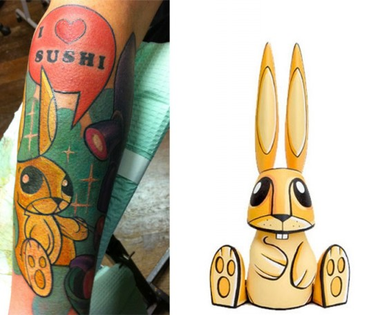 Tattoos inspired by art: Mr. Bunny by Joe Ledbetter. Tattoo by Hannah Aitchison (Chicago). Flesh canvas by Ron.