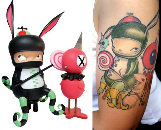 Tattoos inspired by art: Benny and Red Bird by Kathie Olivas. Flesh canvas by Amy the Vinyl Goddess.
