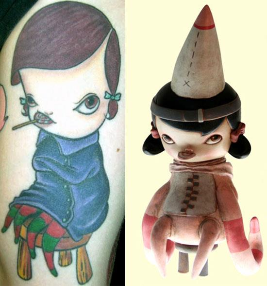 Tattoos inspired by art: Misery Children by Kathie Olivas. Tattoo by Jose Soto at Inkstop Tattoo (NYC). Flesh canvas by Victor.