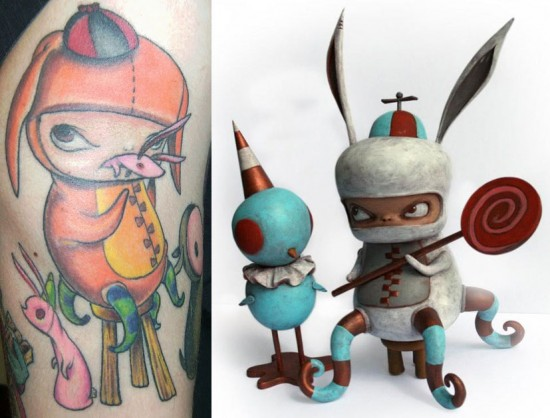 Tattoos inspired by art: Benny and Red Bird by Kathie Olivas. Tattoo by Jose Soto @ Inkstop Tattoo (NYC). Flesh canvas by Victor.