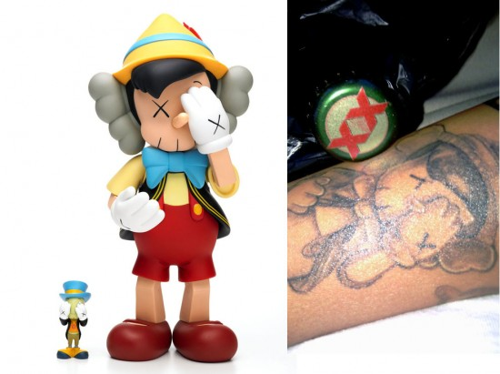 Tattoos inspired by art: Pinocchio by KAWS.