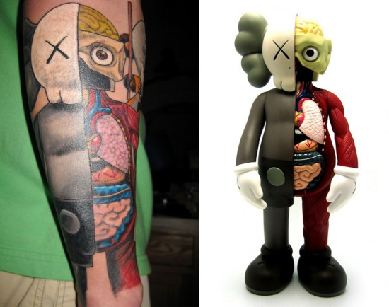 Tattoos inspired by art: Dissected Companion by KAWS. Tattoo by Wil @ Randy Adams Tattoo Studio (Ft. Worth, Texas). Flesh canvas by Jeff.