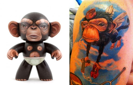 Tattoos inspired by art: Monkey by Ken Keirns. Tattoo by Hannah Aitchison (Chicago). Flesh canvas by Ron.