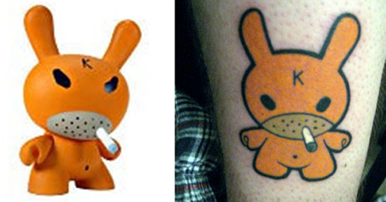 Tattoos inspired by art: Hate Dunny by Frank Kozik. Flesh canvas by Jeff.