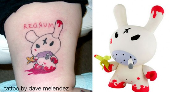 Tattoos inspired by art: Redrum Dunny by Frank Kozik. Tattoo by Dave Melendez.
