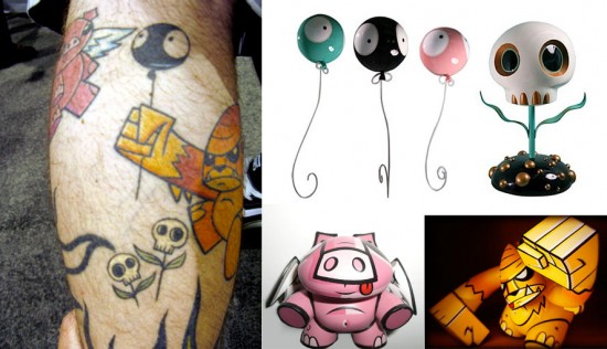 Tattoos inspired by art: Characters by Joe Ledbetter and Tara McPherson.
