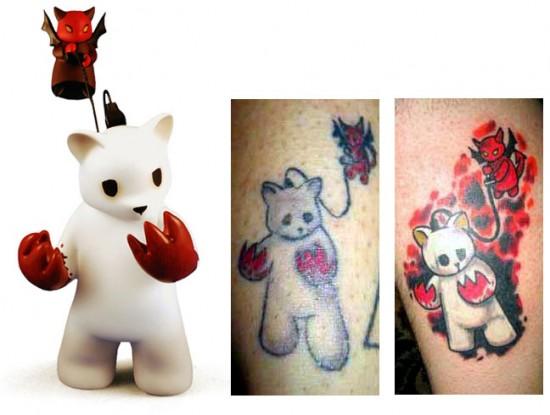 Tattoos inspired by art: Possessed by Luke Chueh. Far right tattoo by Matthew Hays @ Tat-Nice Tattoos (Huntington, WV). Flesh canvas by Flesh canvas by Dan.