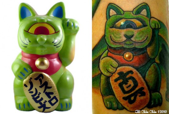Tattoos inspired by art: Fortune Cat by RealxHead. Tattoo by Ali @ Jinx Proof (NJ). Flesh canvas by Jeff.