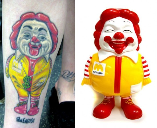Tattoos inspired by art: MC Supersize by Ron English.