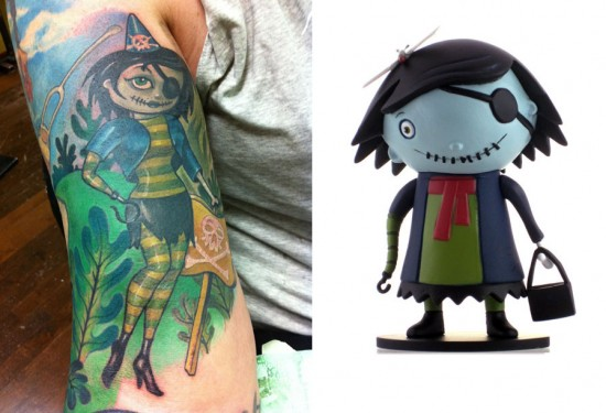 Tattoos inspired by art: Scarygirl by Nathan Jurevicius. Tattoo by Hannah Aitchison. Flesh canvas by Ron.
