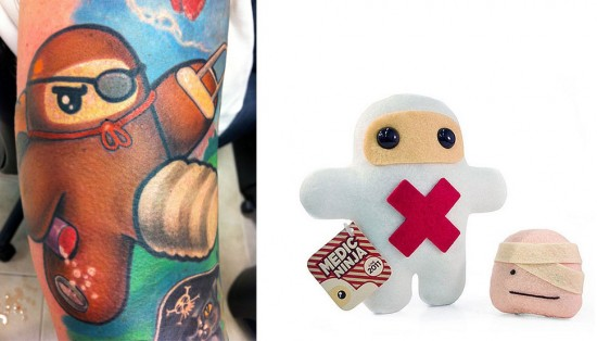 Tattoos inspired by art: Custom Ninja by Shawnimals. Tattoo by Hannah Aitchison (Chicago). Flesh canvas by Ron.